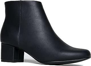 Low Heel Ankle Boot - Casual Zip Up Bootie - Comfortable Everyday Round Toe Bootie - Jody