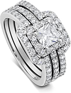 DTLA Princess Cut Center Stone CZ Sterling Silver Triple Band Engagement Ring & Wedding Band