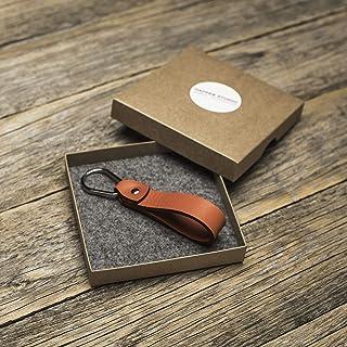 Arancione portachiavi di pelle con anello a forma di goccia e, regalo per ragazzo