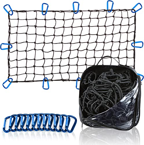 discount Grit Performance Heavy online sale Duty Cargo Net for Pickup lowest Trucks with Thick Latex 4x4 inches Bungee Mesh Squares for Small and Large Loads with Storage Bag and 12 Steel, Blue No Tangle Carabiners outlet sale