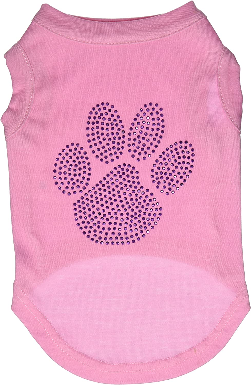 Mirage Pet Products Purple Paw Rhinestud Shirt, Medium, Light Pink