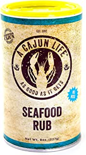 A Cajun Life Seafood Rub   Authentic Certified Cajun Seafood Seasoning Rub, Non-GMO, No MSG, Gluten Free Seafood Seasoning Mix That's Great On Everything Seafood.