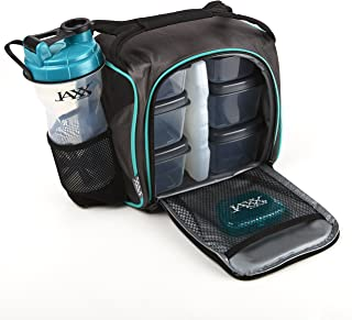 Fit and Fresh 944FFJXTEAL Original Jaxx FitPak Insulated Cooler Lunch Box, Meal Prep Bag with Portion Control Containers, Ice Pack, 28 oz Shaker, Standard, Teal