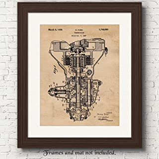 Original Henry Ford Transmission Patent Poster Prints, Set of 1 (11x14) Unframed Photo, Wall Art Decor Gifts Under 15 for Home, Office, Man Cave, Coach, College Student, Teacher, USA Cars & Coffee Fan