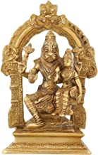 Religious Statue Lord Narasimha and Lakshmi Ma Indian Dcor Brass 7.5 Inch,1.75 Kg