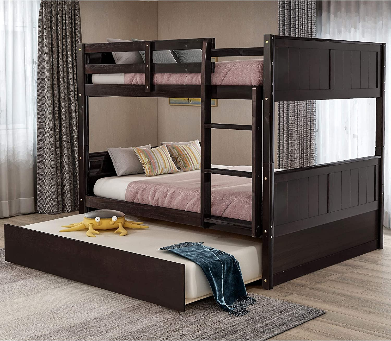 AUTOKOLA Home Full Over Bunk Bed Wood Trundle Free shipping OFFicial store with Solid Bu