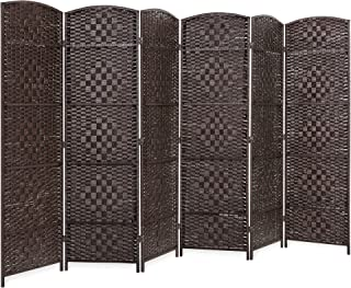 Best Choice Products 70x118in 6-Panel Diamond Weave Folding Freestanding Room Divider Privacy Screen Accent - Dark Mocha