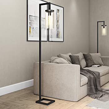 Henn&Hart FL0014 Modern farmhouse seeded floor lamp, One Size, Black