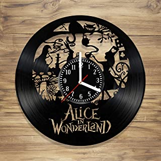 Alice in Wonderland Vinyl Wall Clock Disney Cheshire Cat Perfect Art Decorate Home MODERN Style UNIQUE GIFT idea for Him Her (12 inches)