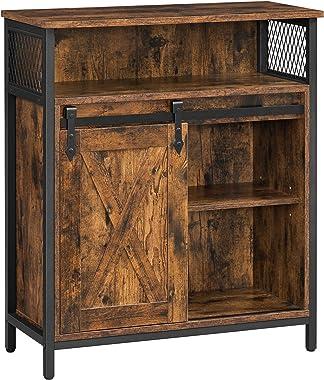 VASAGLE COBADO Storage Cabinet, Sideboard Cupboard with Open Compartment, Sliding Barn Door, Adjustable Shelf, Industrial, fo