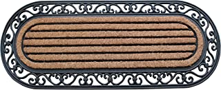 """A1 Home Collections RC2007 Striped Oval Rubber and Coir Doormat, 18"""" X 48"""""""