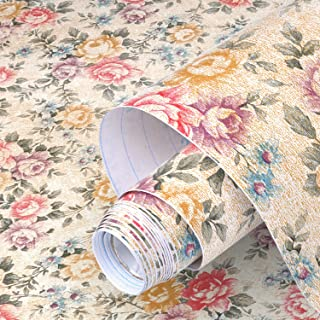 yazi Floral Contact Paper Shelf Liner self-Adhesive Christmas Decorate Drawer Contact Paper Decorative,17x78 Inches,Vintage Peony
