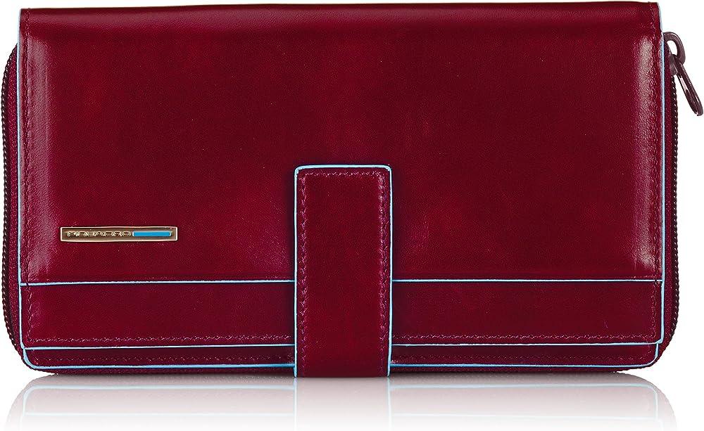 Piquadro blue square, portafoglio in pelle, per donna, porta carte di credito, rosso