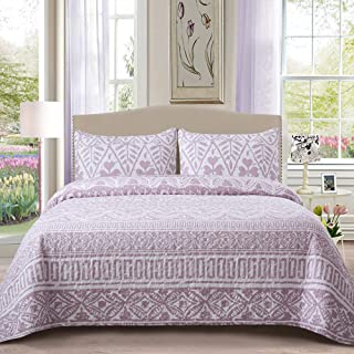 Soul & Lane Perfect Harmony 100% Cotton Watercolor Printed 2-Piece Quilt Set (Twin) | with 1 Sham Pre-Washed Reversible Machine Washable Lightweight Bedspread Coverlet
