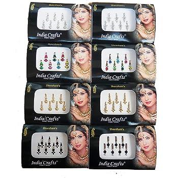8 confezioni di 56 bindi indiani in argento, oro, nero, multicolore, stile Bollywood (etichetta in lingua italiana non garantita)