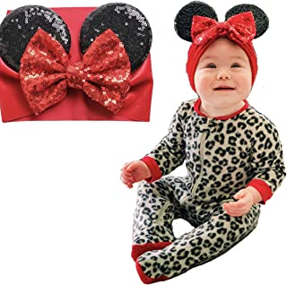 Baby & Toddler Mouse Ears Wide Headband with Bow - Sequins & Velvet Headwrap - First Birthday or Halloween Costume