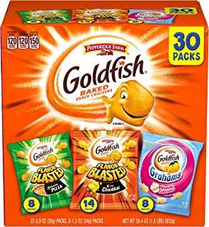 Pepperidge Farm Goldfish Crackers, Bold Mix Variety Pack Box, 30-count Snack Packs