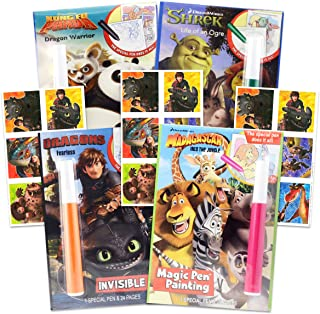 DreamWorks Invisible Ink Activity Book Set for Kids Toddlers -- 4 Travel Activity Books Featuring How to Train Your Drago...