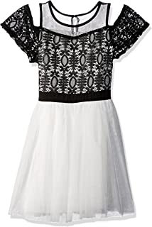 Girls' Big Cold Shoulder Dress with Crochet Lace Top and Tulle Bottom
