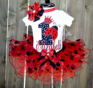 1st Ladybug Tutu Set for Girls - First Birthday Outfit Personalized Red Black Polka dot - Cake Smash Clothing Toddler Girl - Lady bug party