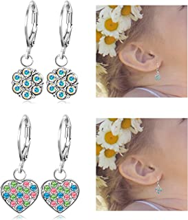 JOERICA 2 Pairs Stainless Steel Leverback Earrings for Girls Heart Dangle Drop Childrens Earrings Flower Crystal Earrings for Kid.
