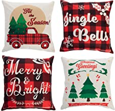 JOYIN Christmas Mixed Buffalo Plaid Farmhouse Pillow Covers (4 Pack), 18x18 Inch Christmas Throw Pillow Cases, Cushion Cas...