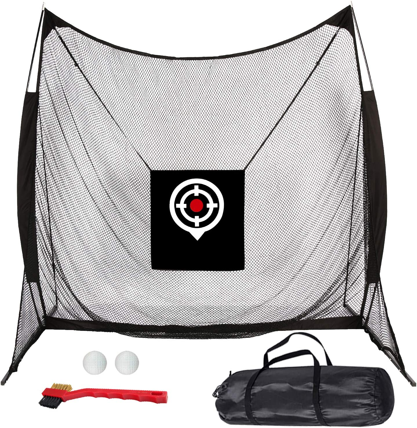 BRIGHT MOON Golf Net, Golf Hitting Net 8.2 X 8.2 Professional Golfing at Home Swing Training Aids Golf Practice Net for Backyard Driving Comes with Two Style Golf Targets : Sports & Outdoors