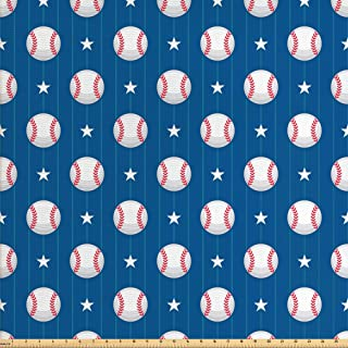 Ambesonne Sports Fabric by The Yard, Baseball Patterns on Vertical Striped Background Stars Design, Decorative Fabric for Upholstery and Home Accents, 2 Yards, Blue Red