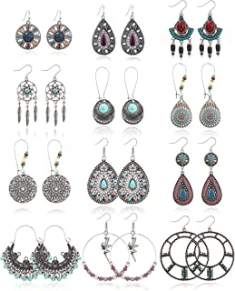 FIBO STEEL 12 Pairs Bohemian Vintage Drop Dangle Earrings for Women Retro Statement Earring Set for Birthday Party Gift