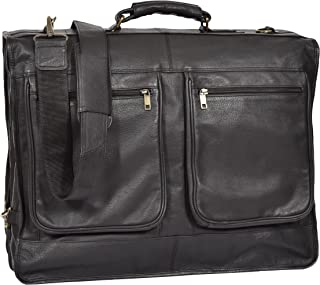 Real Leather Dress Suit Carrier Travel Weekend Garment Clothing Bag Canico Black