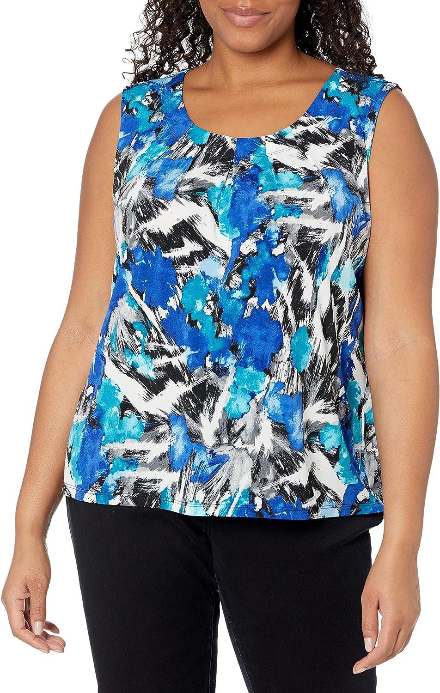 Kasper Women's Plus Size Pleat Neck Waterbrush Printed Knit Cami