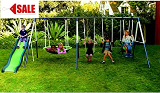 Metal Swing Set With Slide For Backyard Outdoor Kids Fun Play Backyard Durable Construction Park For Physical Activity And Exercise - Skroutz