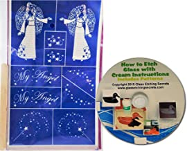 Angel Glass Etching Stencils with Magic Wands & Stars + Free How to Etch CD