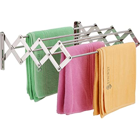 SYNERGY 7 Rod - Premium Heavy Duty Rust-Free Stainless Steel Foldable Wall Mounted/Mounting Clothes Drying Stand/Cloth Dryer Racks for Bathroom/Balcony/Indoor/Outdoor [SY-CS3]