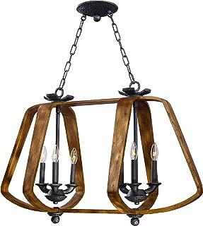 Maxim 20927BWIO, Road House Incandescent Linear Pendant, 6 Light, 40 Watts, Barn Wood/Iron Ore