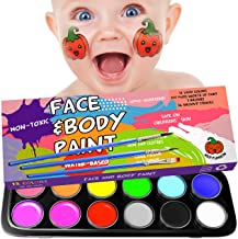 Facepainting Kit for Kids - Best Hypoallergenic Professional Kits for Face and Body - Non-Toxic FDA Approved Paint Makeup - Big Safe Pro Facepaint Kit 12 Face Paints - 36 Face Paint Stencils Included