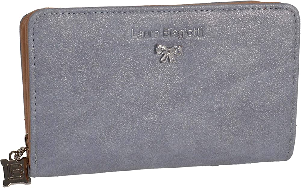 Laura biagiotti, portafoglio, porta carte di credito da donna in similpelle, azzurro polvere piccolo espinosa