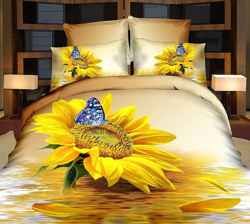 有料多くの危険がある状況符号AliceMall 3d寝具チャーミング明るい黄色ひまわりとブルーバタフライ水反射印刷4ピース布団カバーセット、4個100?%コットン寝具セット クイーン イエロー 10987568