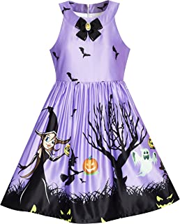 Sunny Fashion Girls Dress Halloween Party Witch Bat Pumpkin Halter Dress