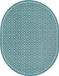 Unique Loom Outdoor Trellis Collection Geometric Diamonds Teal Oval Rug (7' 10 x 10' 0)