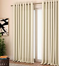Curtain Label Milano Plain Textured Glossy Eyelet 100 % Polyester 4 X 7 feet Curtain, Cream -Set of 2