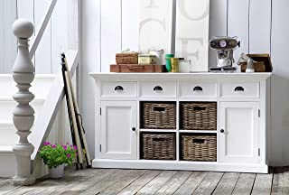 NovaSolo Halifax Pure White Mahogany Wood Sideboard Dining Buffet With Storage, 4 Drawers And 4 Rattan Baskets
