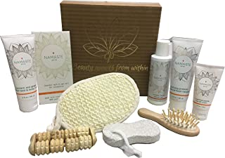 Holiday Special Gift Set! Luxury Vegan Skin Care Collection Home Spa Bath and Body Natural Grapefruit Skin Care Gift Sets By Namaste Skin (10-Piece Box GrapeFruit)
