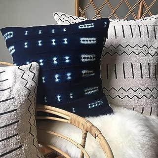 Shibori Indigo Blue or Black & White Tribal Print African Mudcloth Pillow Covers