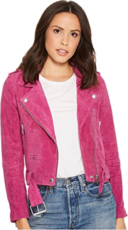 Blank NYC Real Suede Moto Jacket in Fuchsia