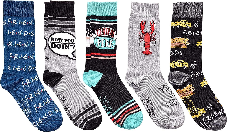 Hyp Friends TV Show Men's Crew Socks 5 Pair Pack Shoe Size 6-12