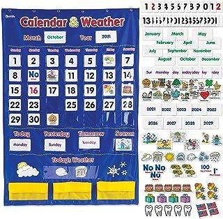 Learning Resources Calendar & Weather Pocket Chart, Calendar for Kids, Classroom Supplies, Homeschool, Set of 136, Ages 3+