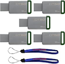 Kingston (TM) Digital 16GB (5 Pack) USB 3.0 Data Traveler 50 Flash Drive DT50, 30MB/s Read, 5MB/s Write Speed with (2) Everything But Stromboli (TM) Lanyard (DT50/16GB)