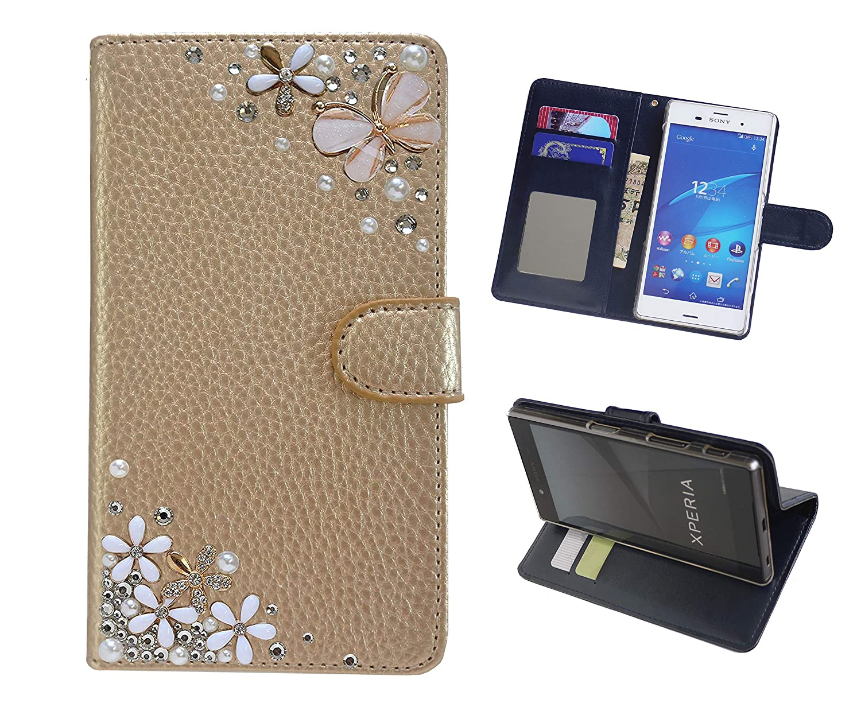 「kaupili」 らくらくスマートフォン3 (F-06F)ケース 鏡/ミラー付き カード収納 スタンド機能 手帳型 お財布機能付き 化粧鏡付き