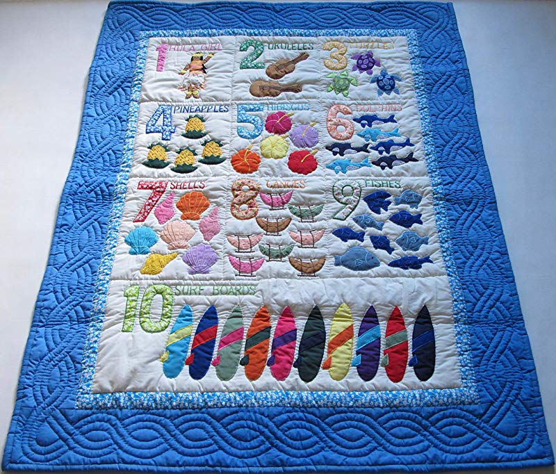 Hawaiian Style Number Quilt Baby Crib Blanket Wall Hanging Hand Quilted And Machine Appliqued